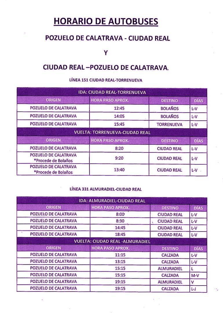 horario autobuses interurbano Pozuelo de calatrava - Ciudad Real