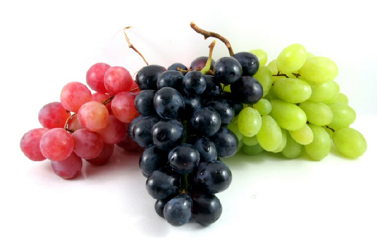 three grapes in different colors isolated on white
