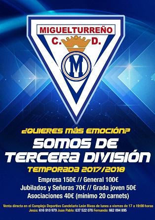 Campaña Captación de Socios CD MIGUELTURREÑO Temporada 2017/2018