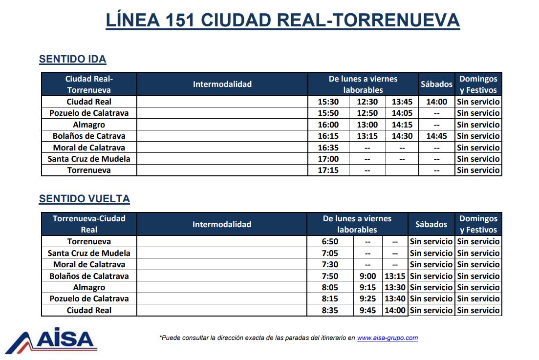 Autobuses Ciudad Real - Pozuelo de Calatrava y viceversa Linea 151