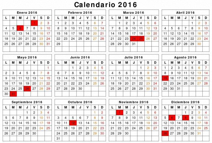 calendario laboral de  castilla la mancha para el año 2016