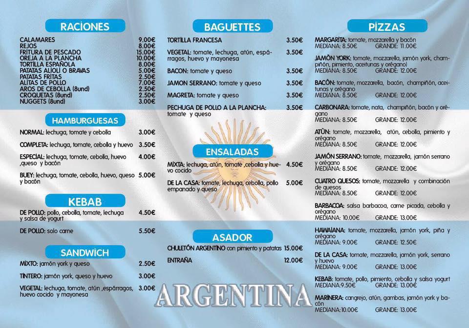 carta bar el argentino de pozuelo de calatrava