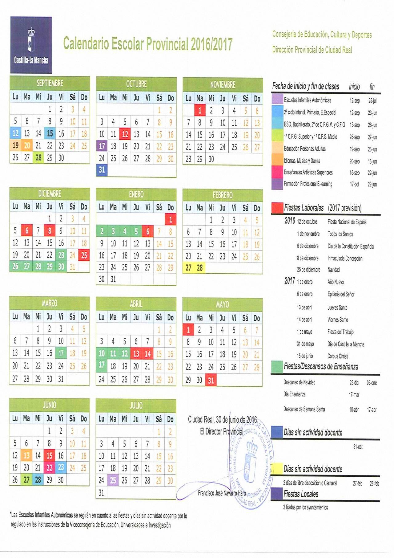 Calendario Laboral 2019 Ciudad Real.Calendario Escolar Para El Curso Academico 2016 2017 En La Provincia