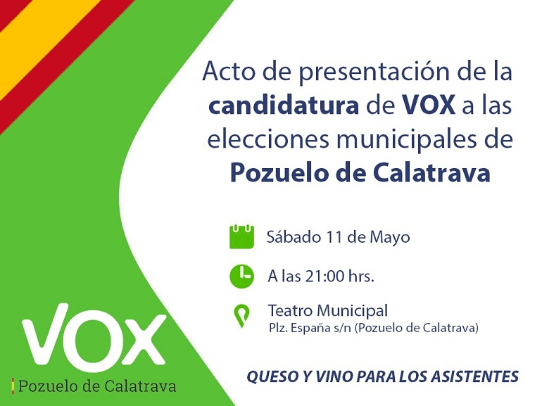 VOX Pozuelo de Calatrava presentará su candidatura a las municipales el sábado 11 de mayo en el Teatro Municipal