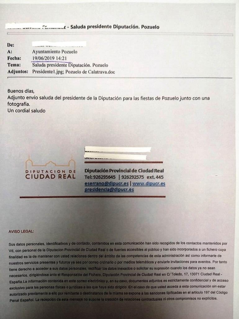 IMAGEN DEL CORREO ENVIADO CON EL SALUDA
