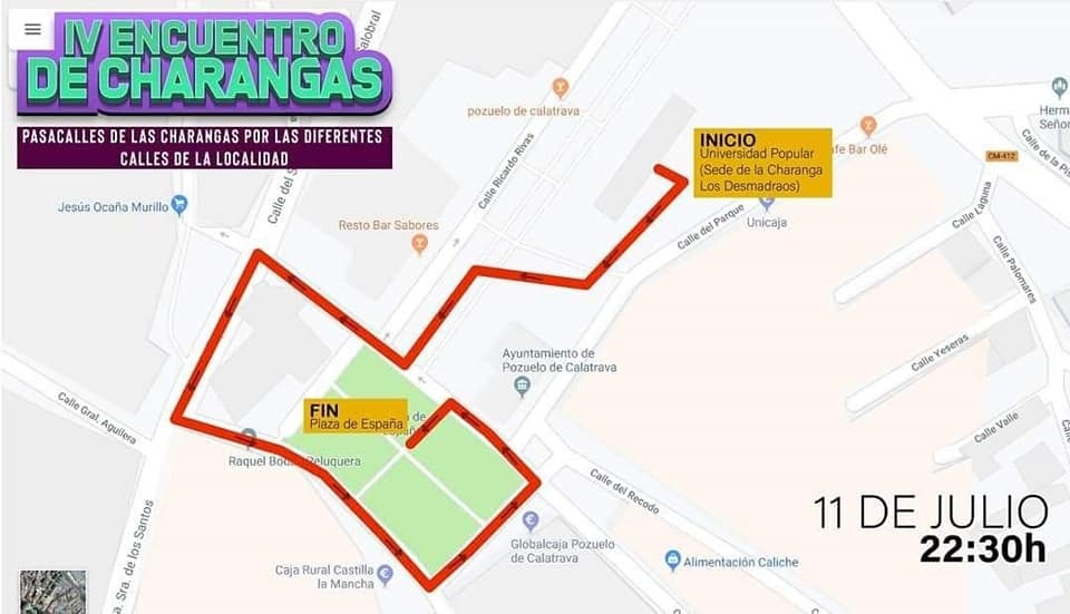 Recorrido IV Encuentro de Charangas Feria y Fiestas 2019 Pozuelo de Calatrava