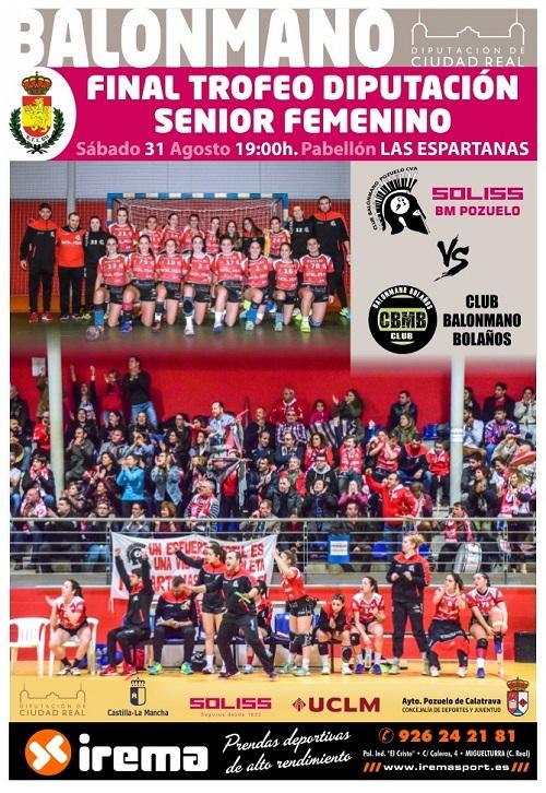 Cartel Oficial Trofeo Diputación 2019 Soliss BM Pozuelo vs Vino Doña Berenguela BM Bolaños